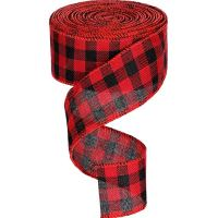 32 Feet Wide Check Wired Ribbon Plaid Taffeta Ribbon Wired Craft Ribbon for Christmas Gifts Home Decoration, Red and Black