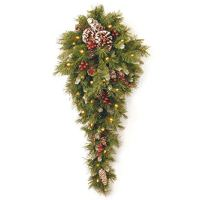 National Tree 3 Foot Frosted Berry Teardrop with 50 Warm White Battery Operated LED Lights (FRB-3TDL-B1)