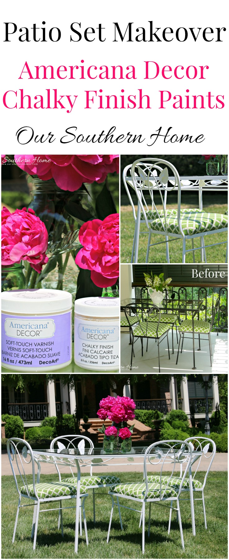 Outdoor furniture gets a makeover with Americana Decor Chalky Finish paints via Our Southern Home. #sp #chalkyfinish #decorartprojects