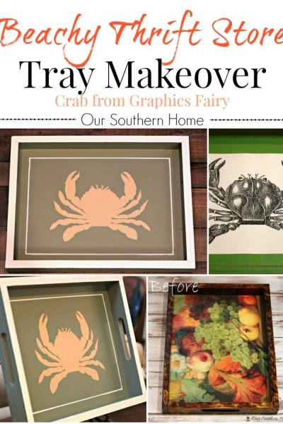 Beachy thrift store tray makeover with crab graphic via Our Southern Home