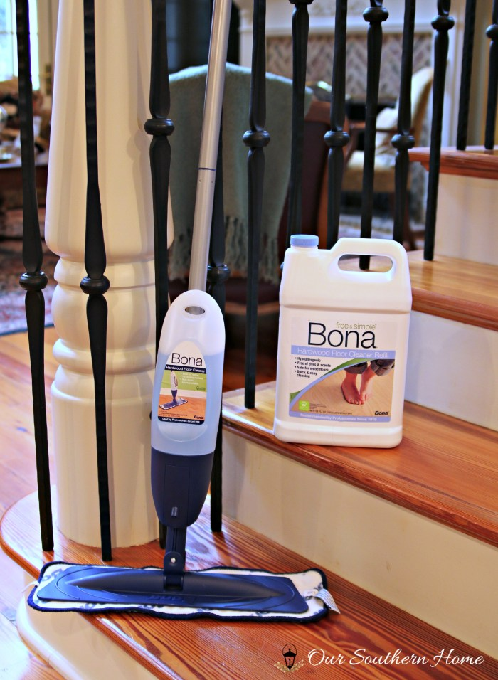 Bona® hardwood floor cleaner is a must for a streak-free shine by Our Southern Home