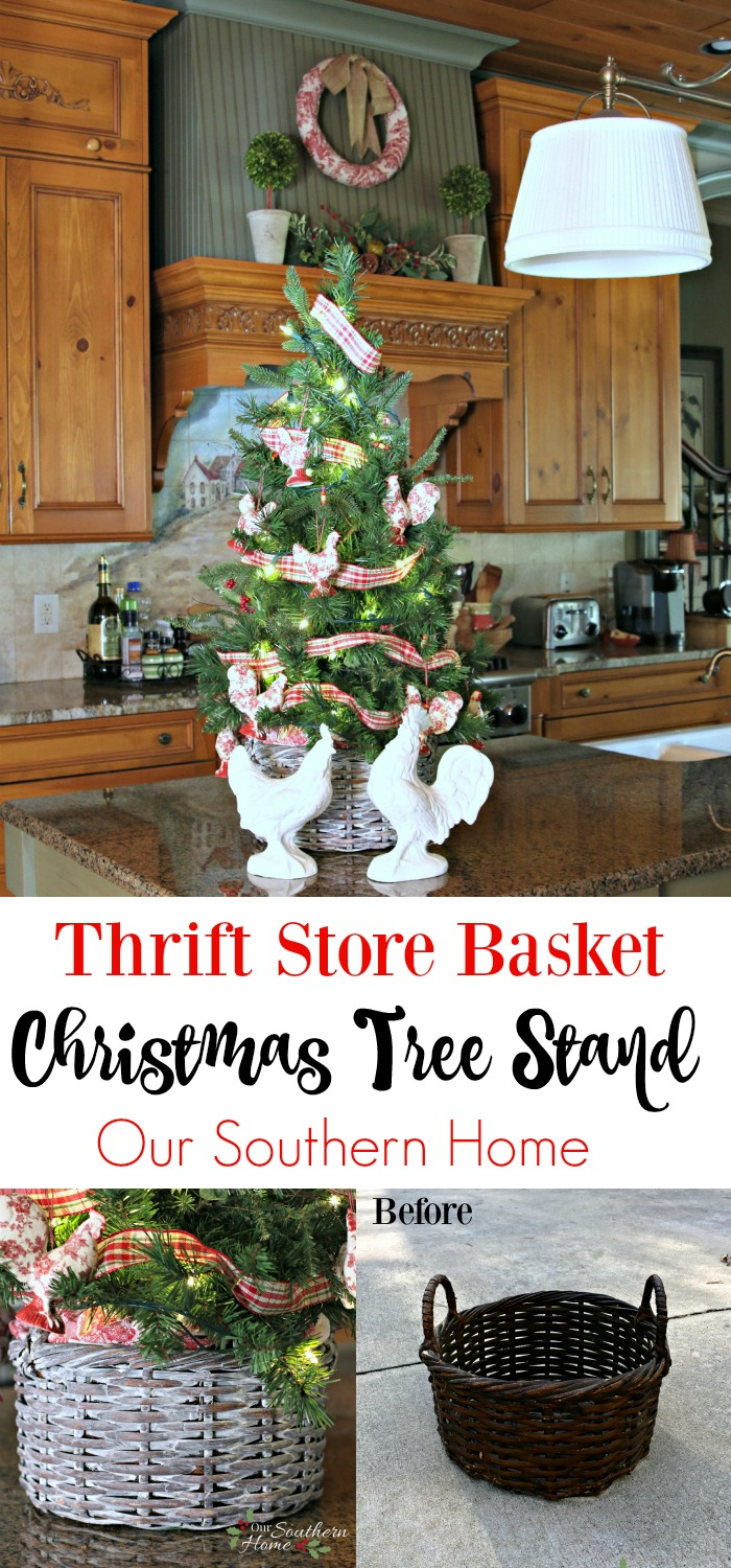 Thrift store basket becomes kitchen counter Christmas tree basket with a simple paint technique.