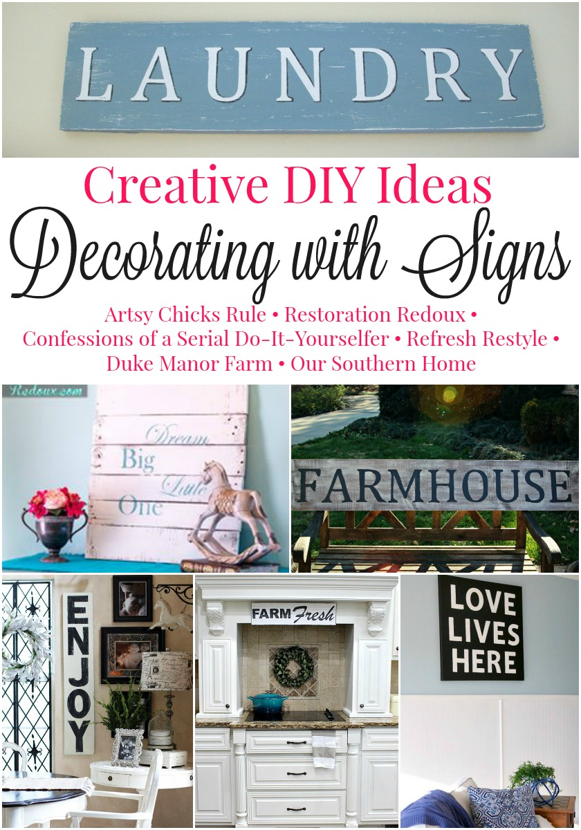 These are great ideas for decorating with signs and some cool tutorials!!!
