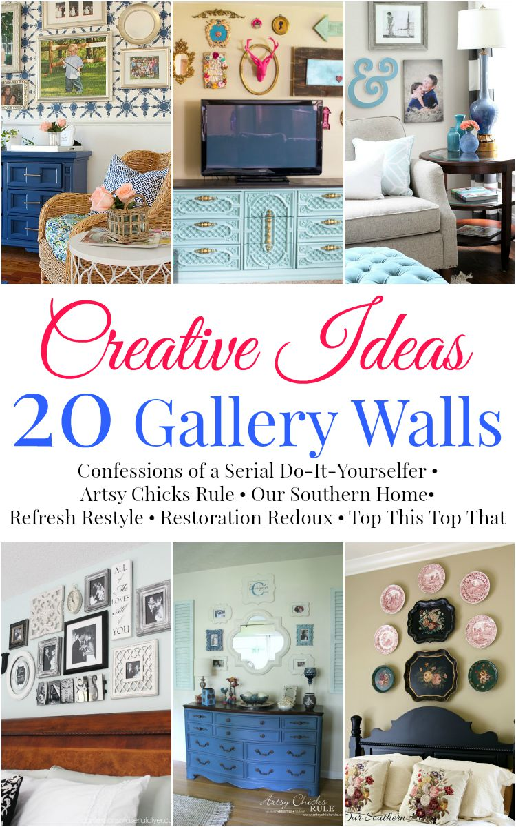 Gallery wall inspiration for 6 popular bloggers via Our Southern Home