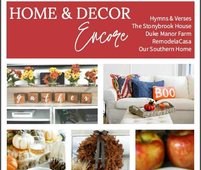 fall graphic with cake and decor