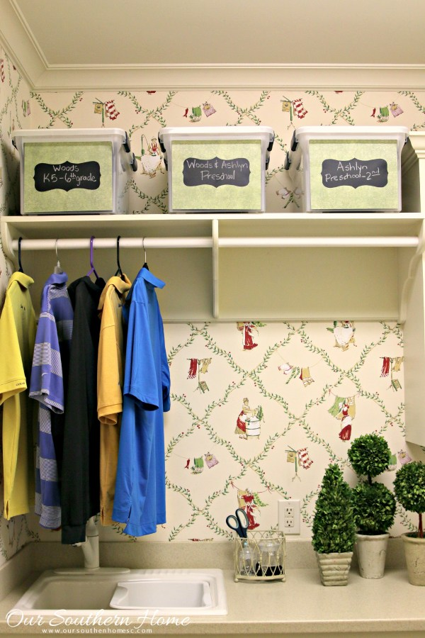 In the laundry room with Our Southern Home. Laundry room decorating and organizing tips! #sp #FreeToBe