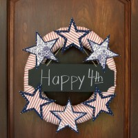 No Sew Stars and Stripes Wreath