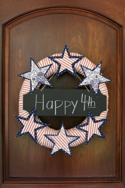 No-sew stars and stripes wreath made with a pool noodle by Our Southern Home