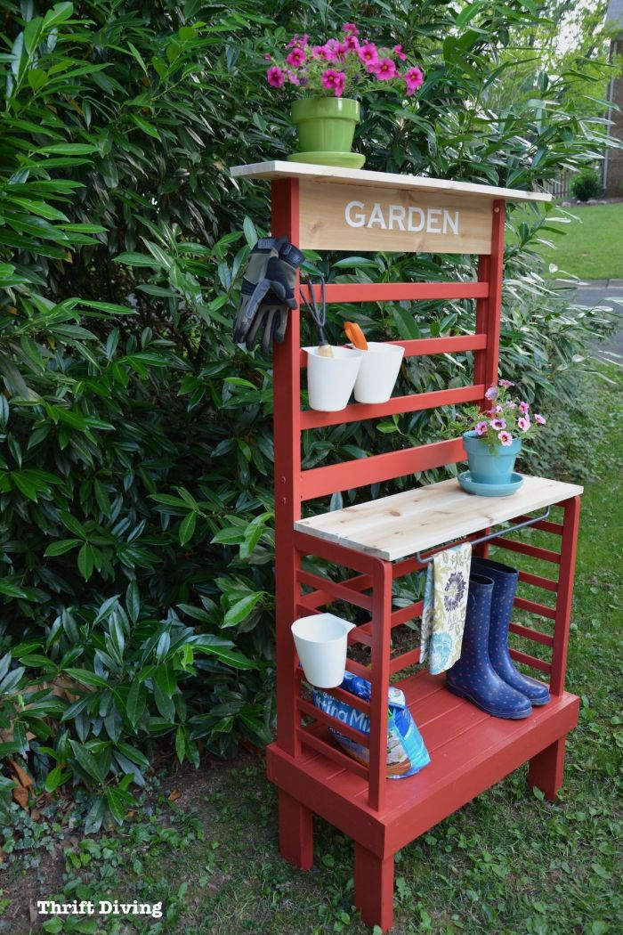 re-purpose toddler bed to potting bench