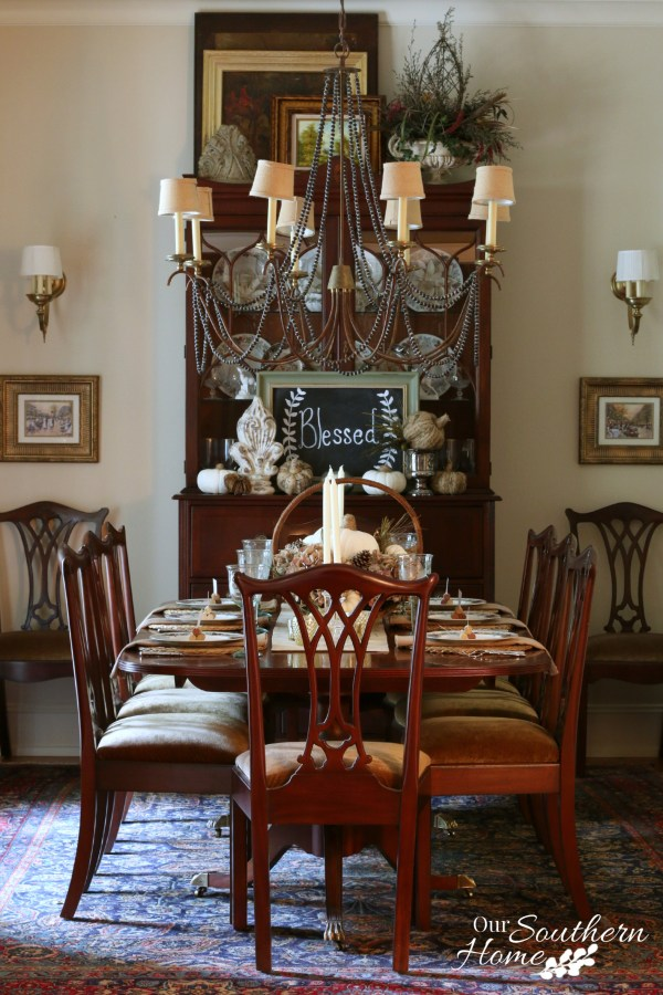 Thanksgiving tablescape for 2015 by our southern home 8
