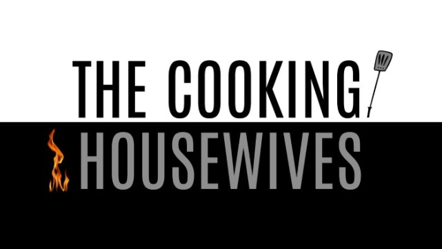 black and white graphic for the cooking housewives