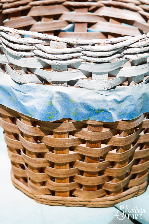 Thrift store basket gets a simple farmhouse makeover with paint!