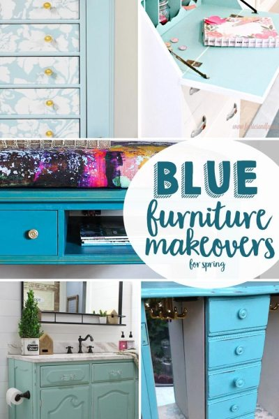 Blue furniture makeovers just in time for spring are the features from Inspiration Monday! Join us each week for a chance to be featured!