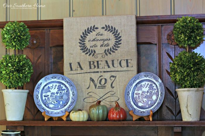 Simple Burlap Wall Art tutorial by Our Southern Home