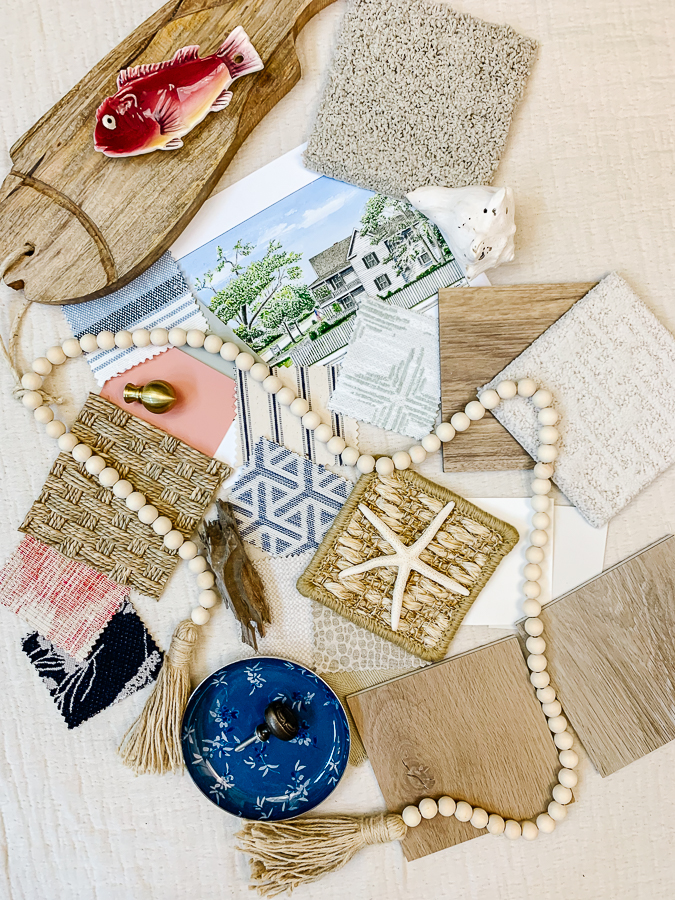flooring samples for mood board with decor