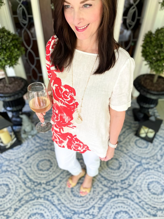 woman in coral tee