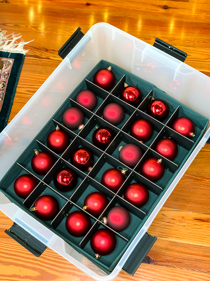 plastic crate with christmas ornament storage