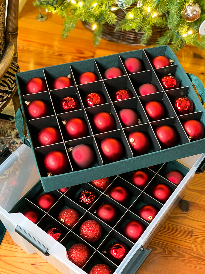 ornaments in a plastic crate