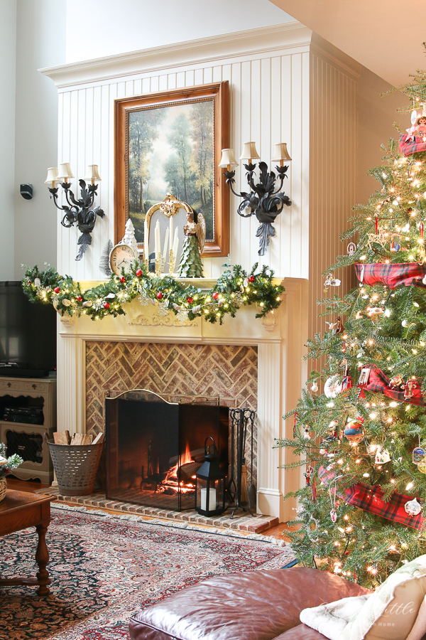 mantel with tree