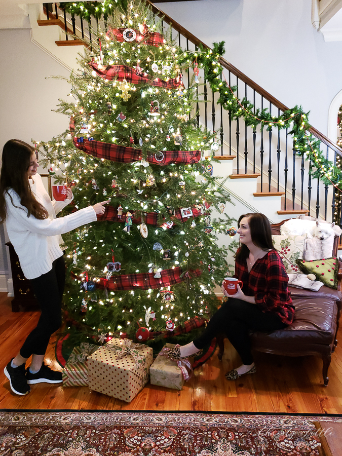 ladies by a christmas tree