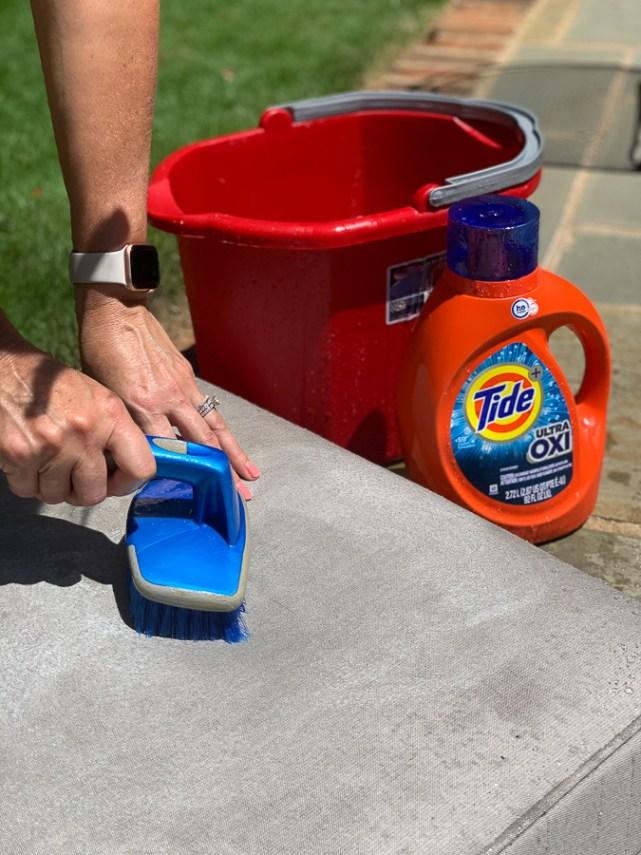 scrubbing outdoor cushions