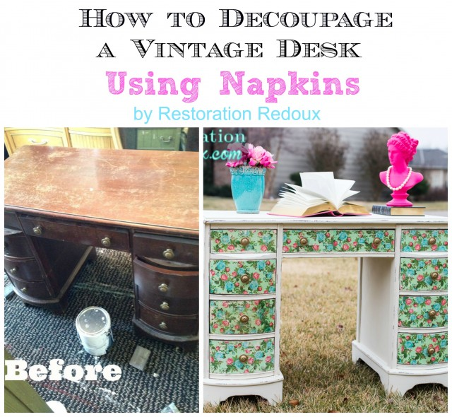 How to Decoupage a Desk Using Napkins