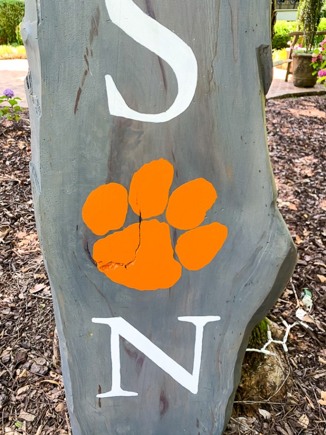 Up close detail of painted sign
