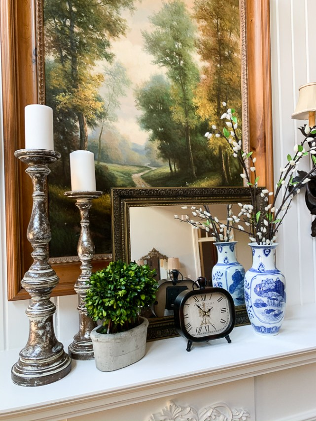 blue and white spring mantel