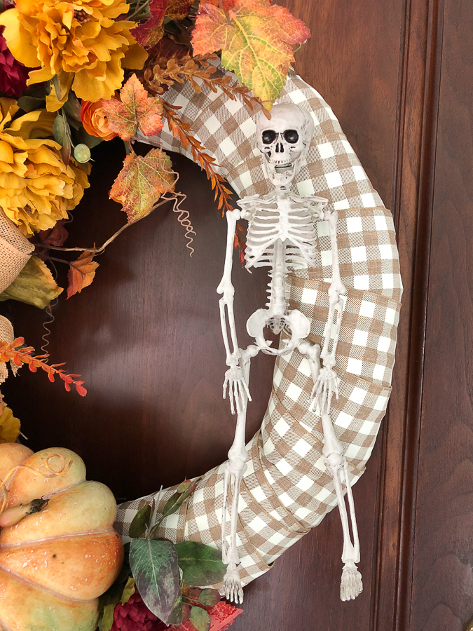 fall wreath with skeleton