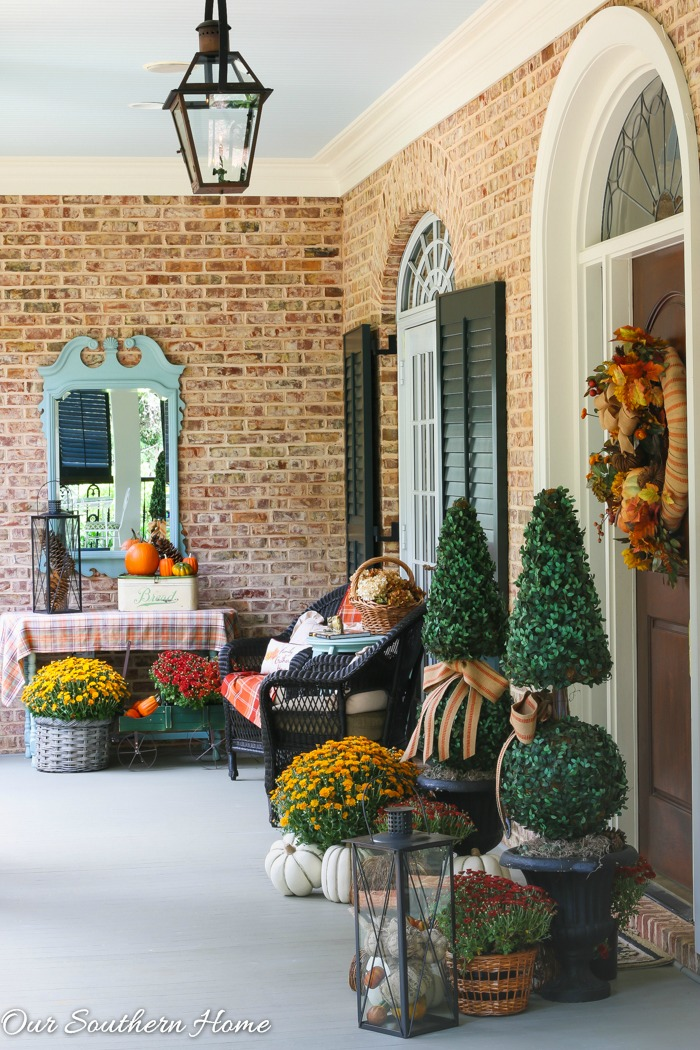 Fall home tour full of ideas for your porch and vignettes within you house via Our Southern Home #haintblue #byteblue