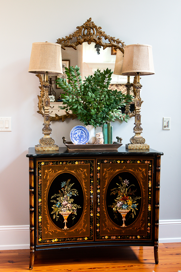 fall vignette with painted chest