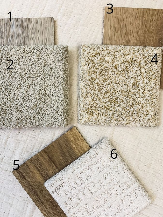 numbered flooring samples
