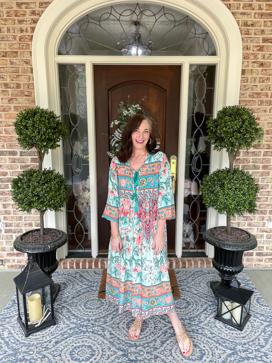 boho dress on the front porch