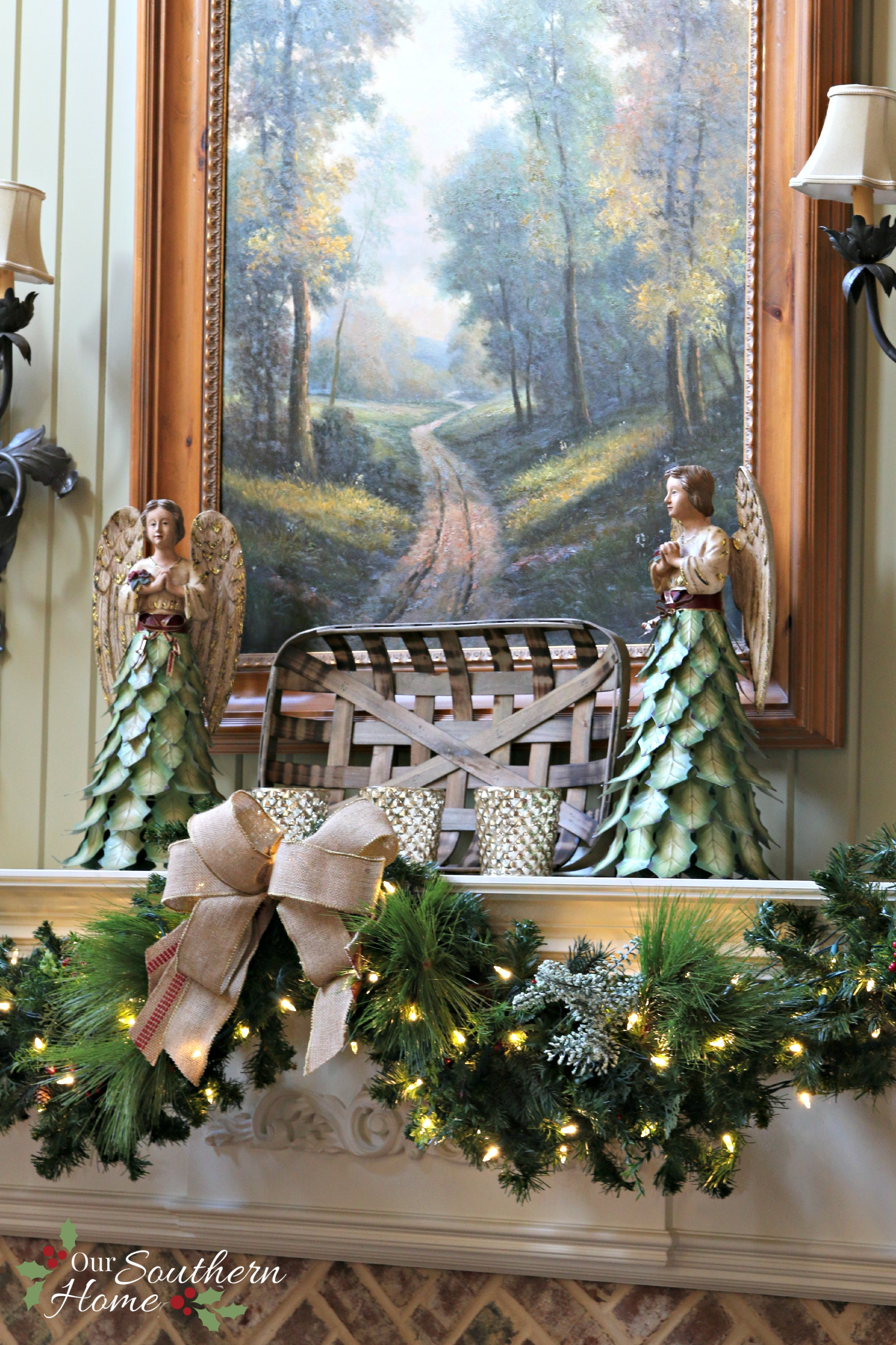 French Farmhouse Christmas Mantel Our Southern Home