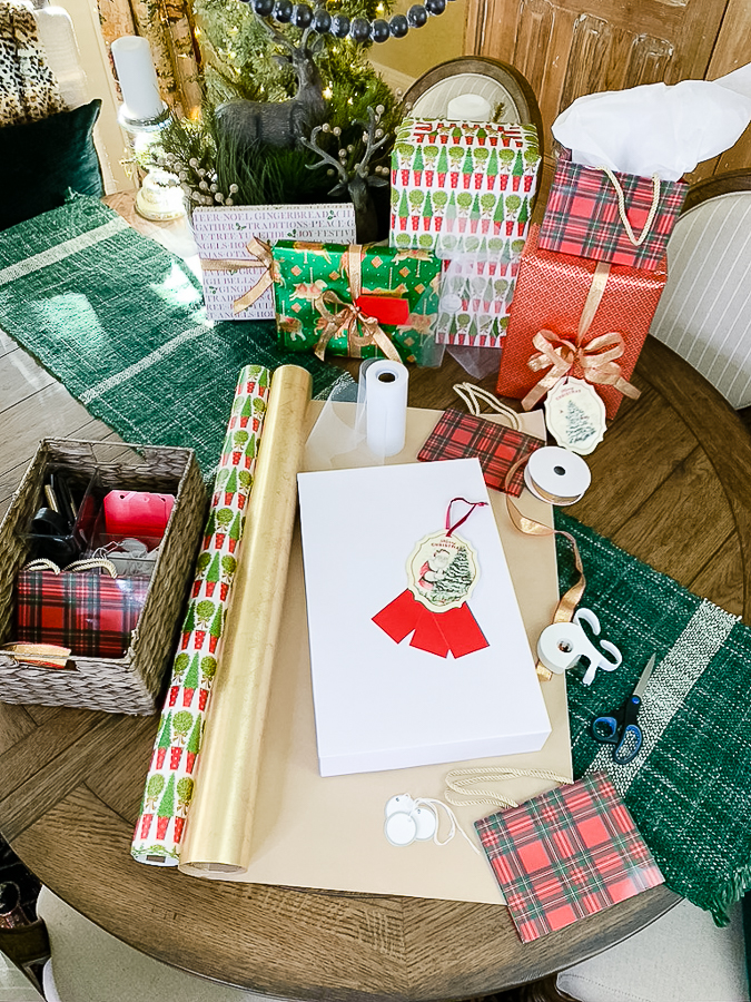 wrapping paper supplies on table