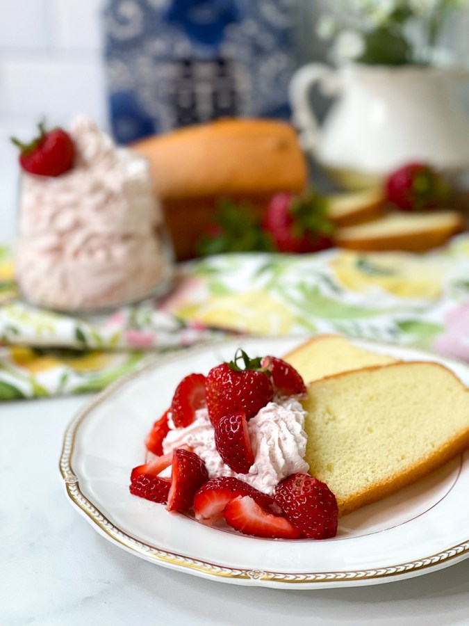 whipped cream with strawberries and cake