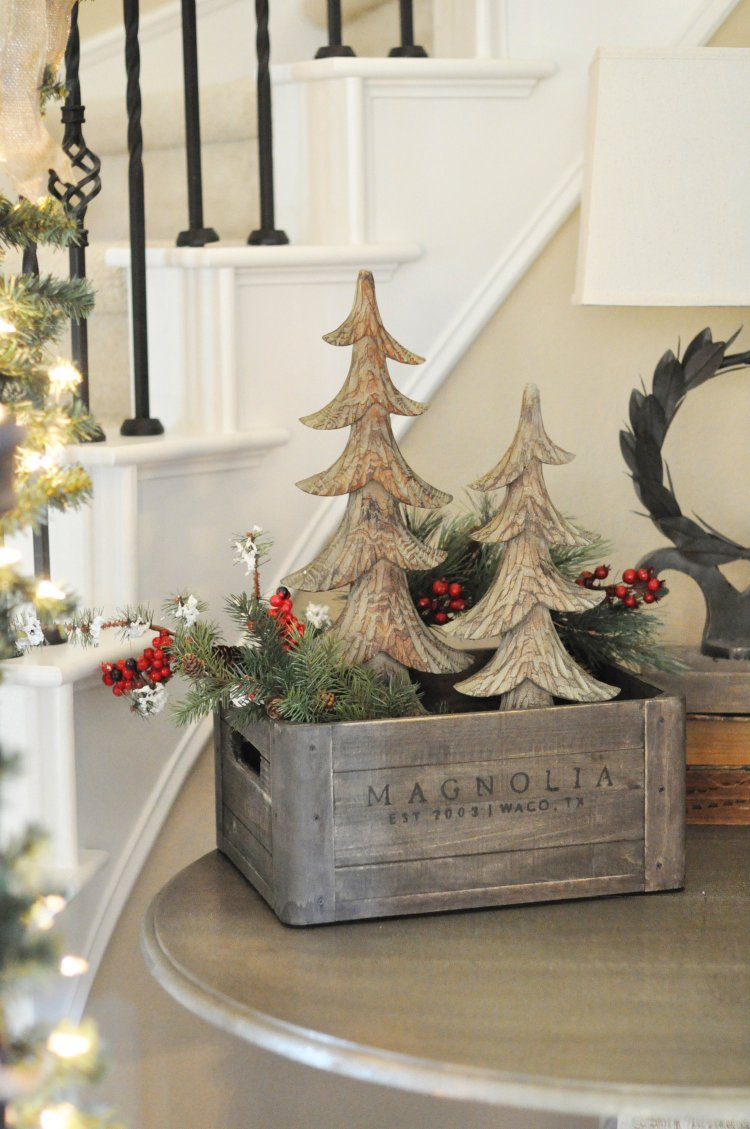 crate with greenery and trees