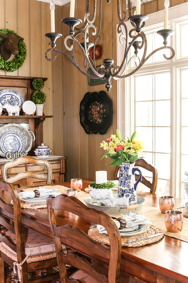 kitchen table and chairs with flowers