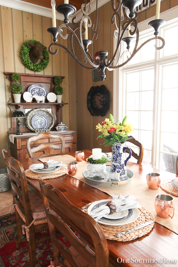 kitchen table with flowers