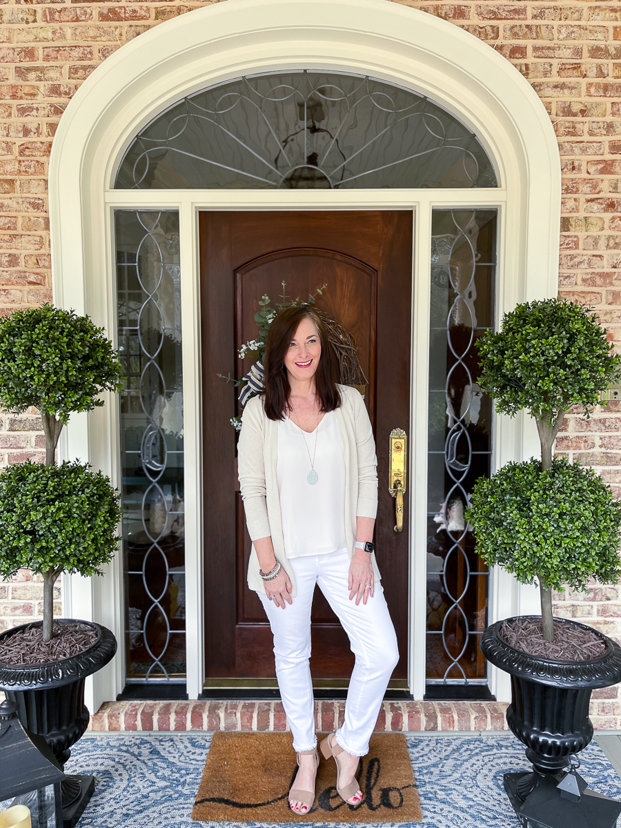 neutral outfit on woman