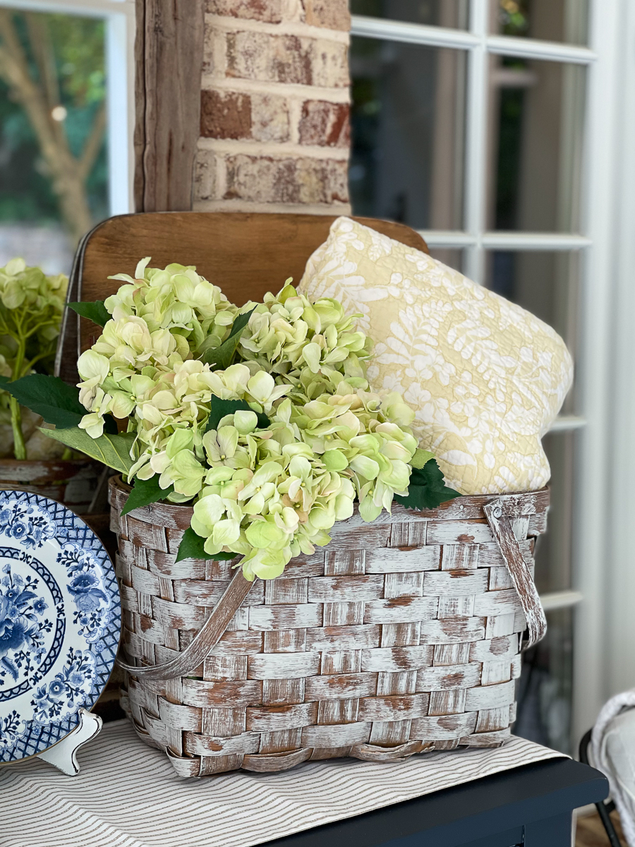 picnic basket with flowers