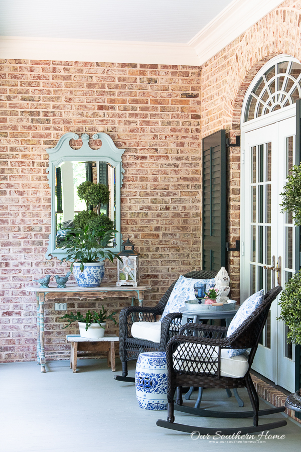summer front porch with blues and rockers