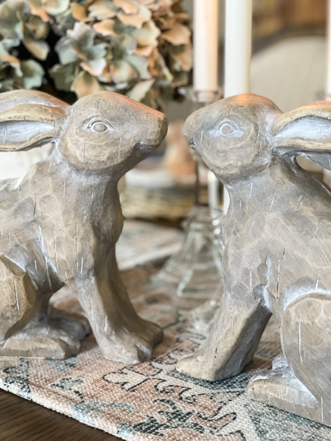 dining room table with bunnies