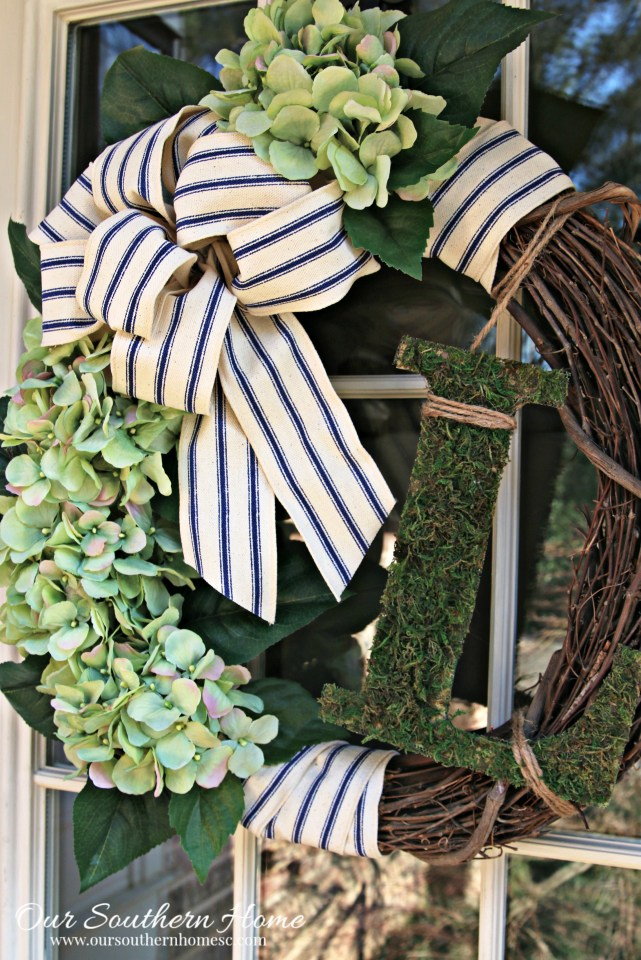 Simple monogrammed hydrangea spring wreath with supplies from Walmart! So easy and convenient!