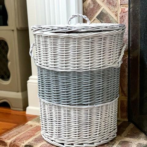 Painted Stripe Basket Makeover