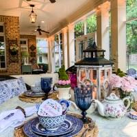 Hello Spring Porch Tablescape
