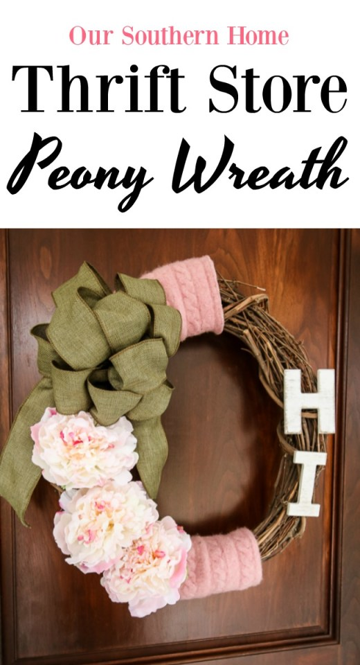 Peony Grapevine Wreath made with a couple of items from the thrift store for thrift store makeover day!