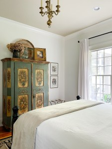 guest bedroom with white walls