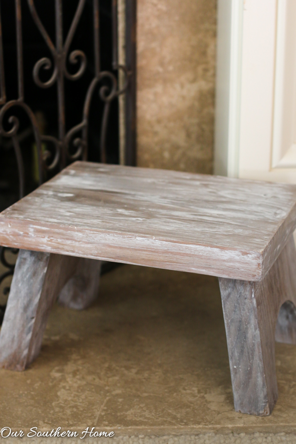 Farmhouse stool makeover with a tinted wax technique for thrift store makeover day via Our Southern Home