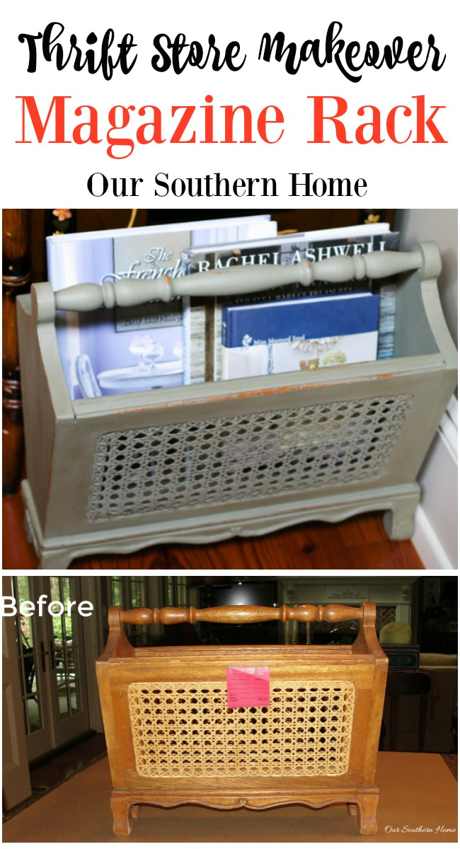 Vintage Magazine Rack Thrift Store makeover with chalk paint from Our Southern Home. Decorate your home for less with thrift store finds!